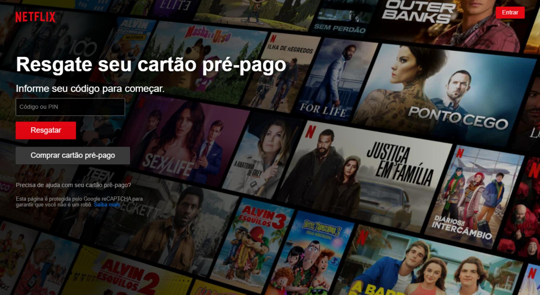 Tela de resgate do cartão pré-pago no site da Netflix