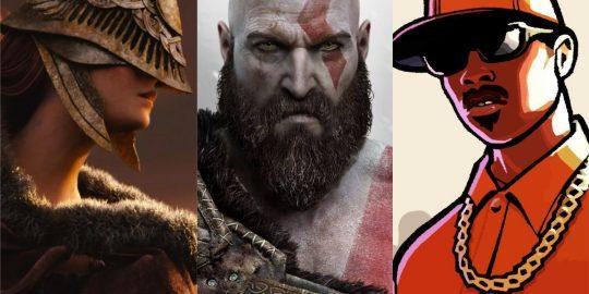 Elden Ring, God of War e remaster de uma trilogia de GTA são alguns dos títulos mais aguardados da PlayStation Showcase 2021 da semana que vem (Imagem: Divulgação/FromSoftware | Santa Monica Studio | Rockstar)