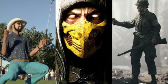 PGA Tour 2K21, Mortal Kombat X e Hell Let Loose são os possíveis jogos do PlayStation Plus em outubro de 2021 (Imagem: Reprodução/ 2K Sports   Warner Bros.   Team17)