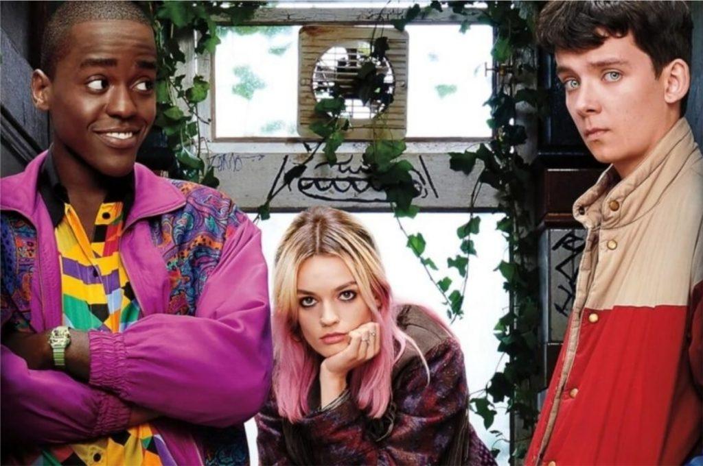 À esquerda, Ncutti Gatwa como Eric; no centro, Emma Mackey como Maeva; à direita, Asa Butterfield como Otis Milburn (Imagem: Divulgação/Netflix)