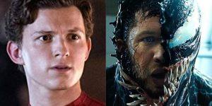 À esquerda, Tom Holland como Homem-Aranha; à direita, Tom Hardy como Venom (Imagem: Divulgação/Sony Pictures | Marvel)