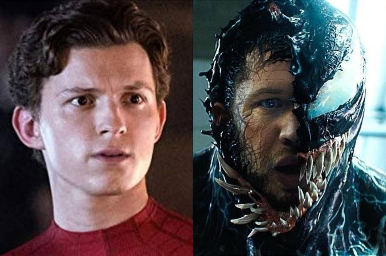 À esquerda, Tom Holland como Homem-Aranha; à direita, Tom Hardy como Venom (Imagem: Divulgação/Sony Pictures   Marvel)