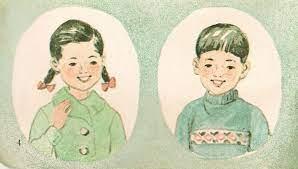À esquerda, a personagem Younghee que inspirou a boneca de Round 6; à direita, o personagem Chulsoo (Imagem: Reprodução/Center Northwest)