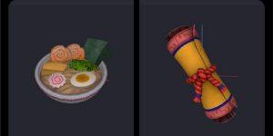 Pergaminho ninja e tigela de lámen encontrados nos arquivos do Fortnite (Imagem: Reprodução/@iFireMonkey)