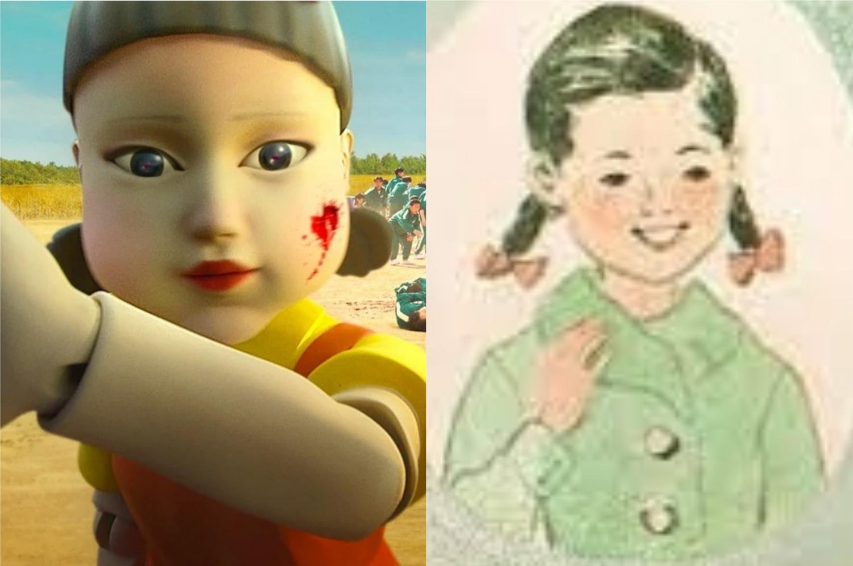 À esquerda, a boneca de Round 6; à direita, a personagem que a inspirou